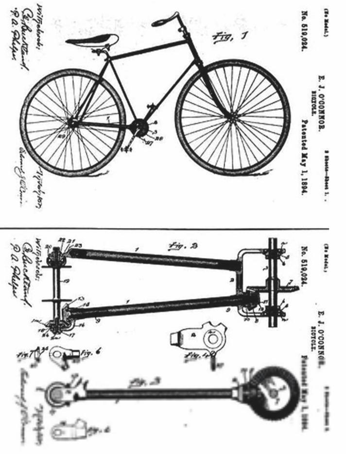 Oude technische tekening van een fiets met een cardanas