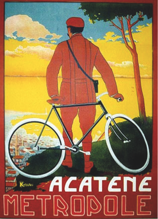 Historisch reclameaffiche voor de Acatene, Franse merknaam voor Fietsen zonder ketting