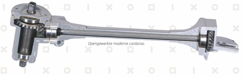 opengewerkte exploded view van een moderne cardanas voor op een fiets van beixo